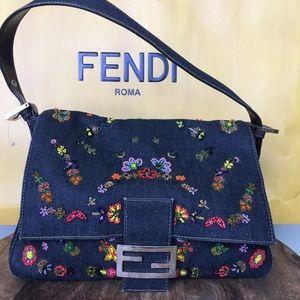 Fendi floral multi color beaded denim bag